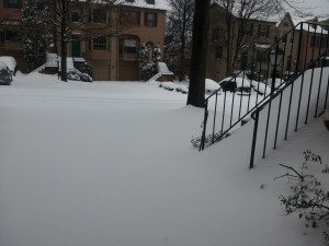 Snowy driveway, February 13, 2014